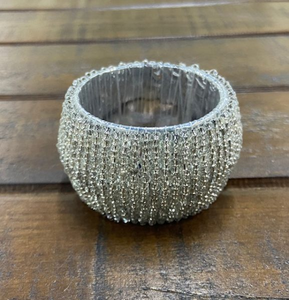 Napkin Ring: Silver Beaded