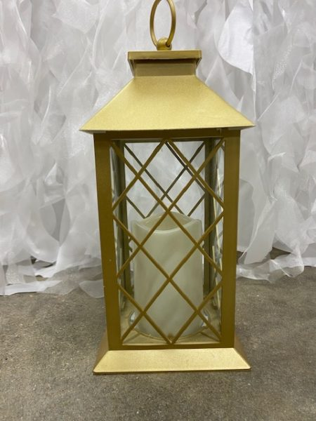 Gold Lantern With LED Pillar