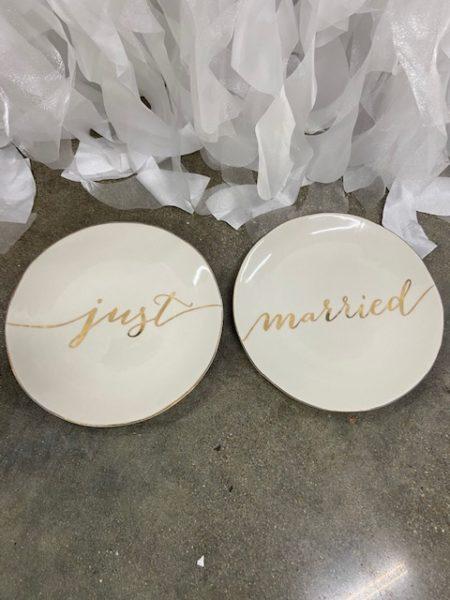 "Vintage ""Just Married"" Cake Plates"